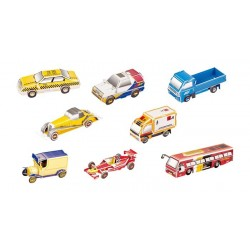 Puzzle de 8 répliques de voitures à construire