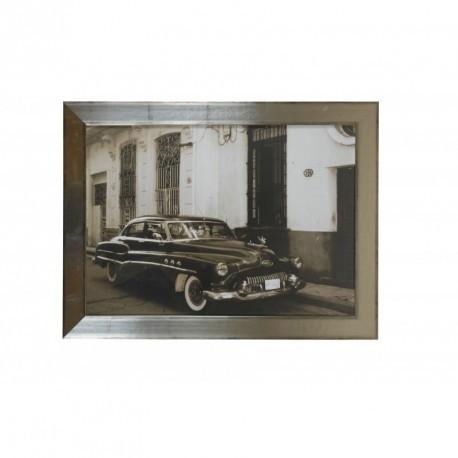 Tableau rétro en métal argenté vieille Buick 60x80 cm