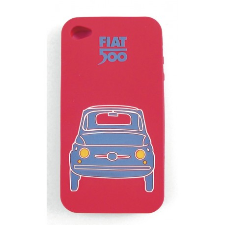 Coque de Iphone 5 en silicone FIAT 500 rouge