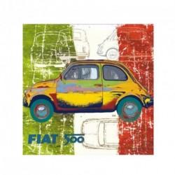 Tableau FIAT 500 multicolore 40x40 cm