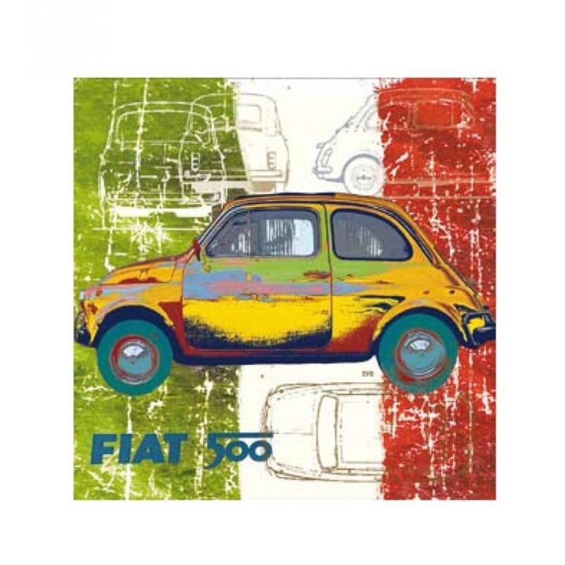 tableau fiat 500 multicolore 40x40 cm boutique fou du volant. Black Bedroom Furniture Sets. Home Design Ideas