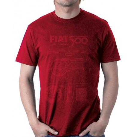T-shirt Homme FIAT 500 100% coton Rouge Vin