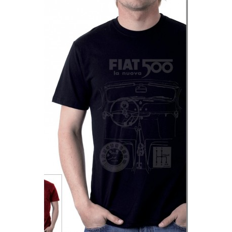 T-shirt Homme FIAT 500 100% coton noir