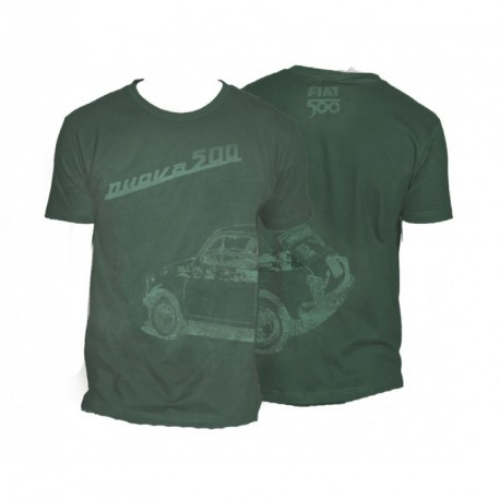T-shirt Homme FIAT 500 100% coton vert gazon
