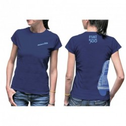 T-shirt Femme FIAT 500 100% coton bleu dur