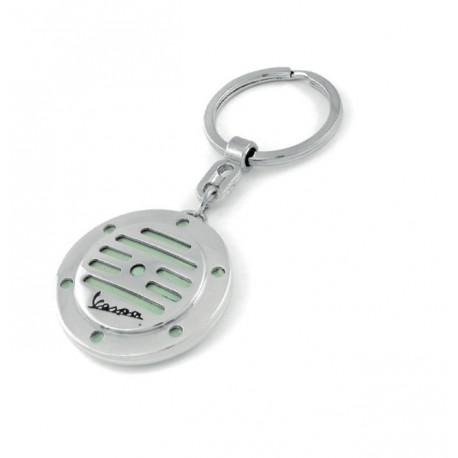 Porte-clef rond façon klaxon de VESPA vert amande