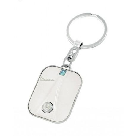 Porte-clef façon avant de VESPA coloris blanc et bord acier