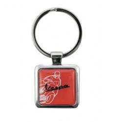 Porte-clef VESPA carré illustré rouge