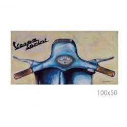 Tableau VESPA sur toile 100x50cm beige et bleu illustré