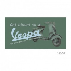 Tableau VESPA sur toile 100x50cm vert amande illustré