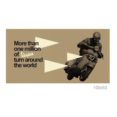 """Tableau VESPA sur toile 100x50cm marron illustré """"More than One Million..."""""""