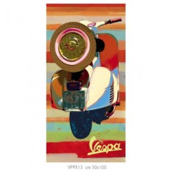 Tableau VESPA acrylique, vue roue arrière, format vertical 50x100 cm