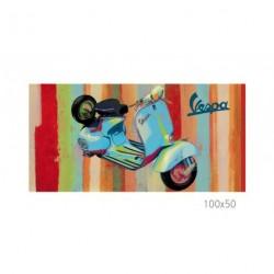 Tableau VESPA bleu vue 3/4 avant, en acrylique, format 100x50 cm