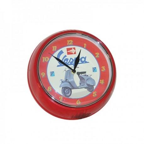 Horloge VESPA rouge illustrée