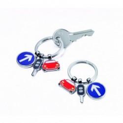 """Porte clefs en métal à breloques """"Circulation"""""""