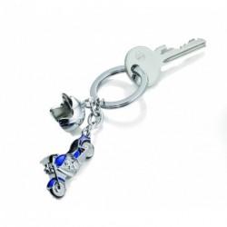 Porte clefs en métal à breloques Casque et Moto, avec strass Swarovski