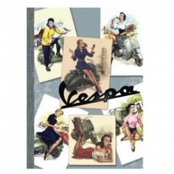 Cahier A5 VESPA imprimé Pin-Up multiicolore