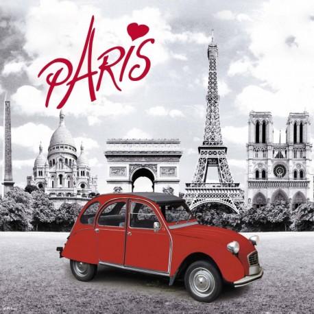 """Dessous de plat sérigraphié """"Paris En 2 CV"""""""