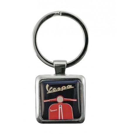 Porte-clef VESPA carré illustré noir et rouge