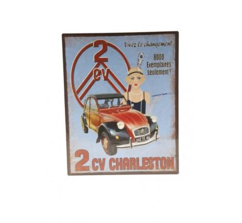 Plaque décorative 2 CV en métal peint