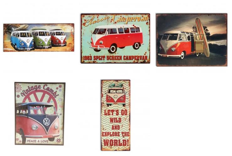 plaque décorative Combi VW en fer peint