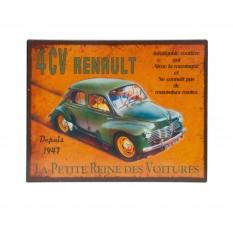 plaque décorative métal Renault 4 CV