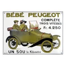 """Plaque émail """"Bébé"""" Peugeot"""