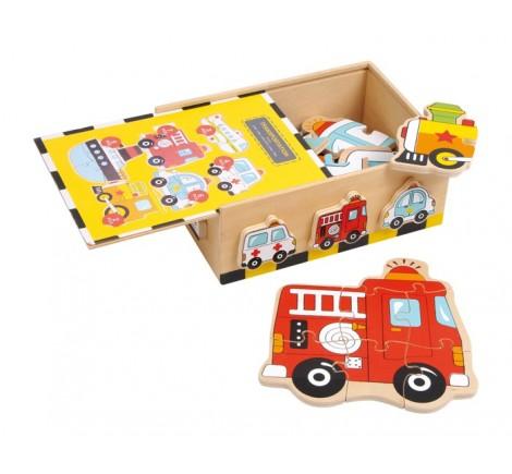 Boite coffret de 6 autos en bois à réaliser en puzzle