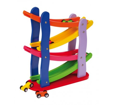 Circuit auto bolide en bois multicolore